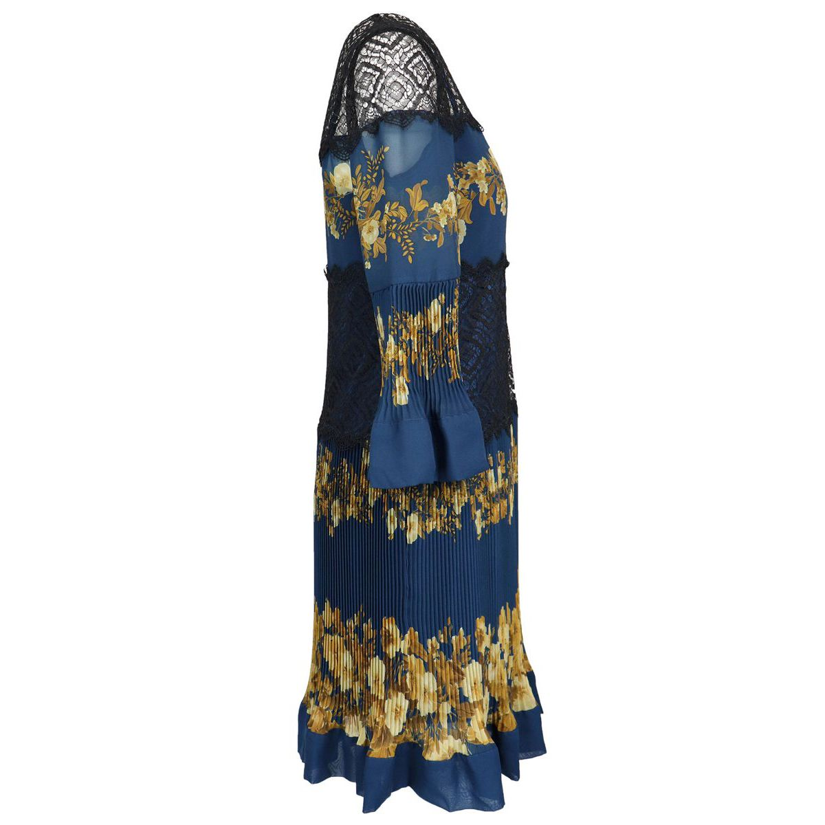 Dress with pleated inserts and lace and gold pattern Blue Twin-Set