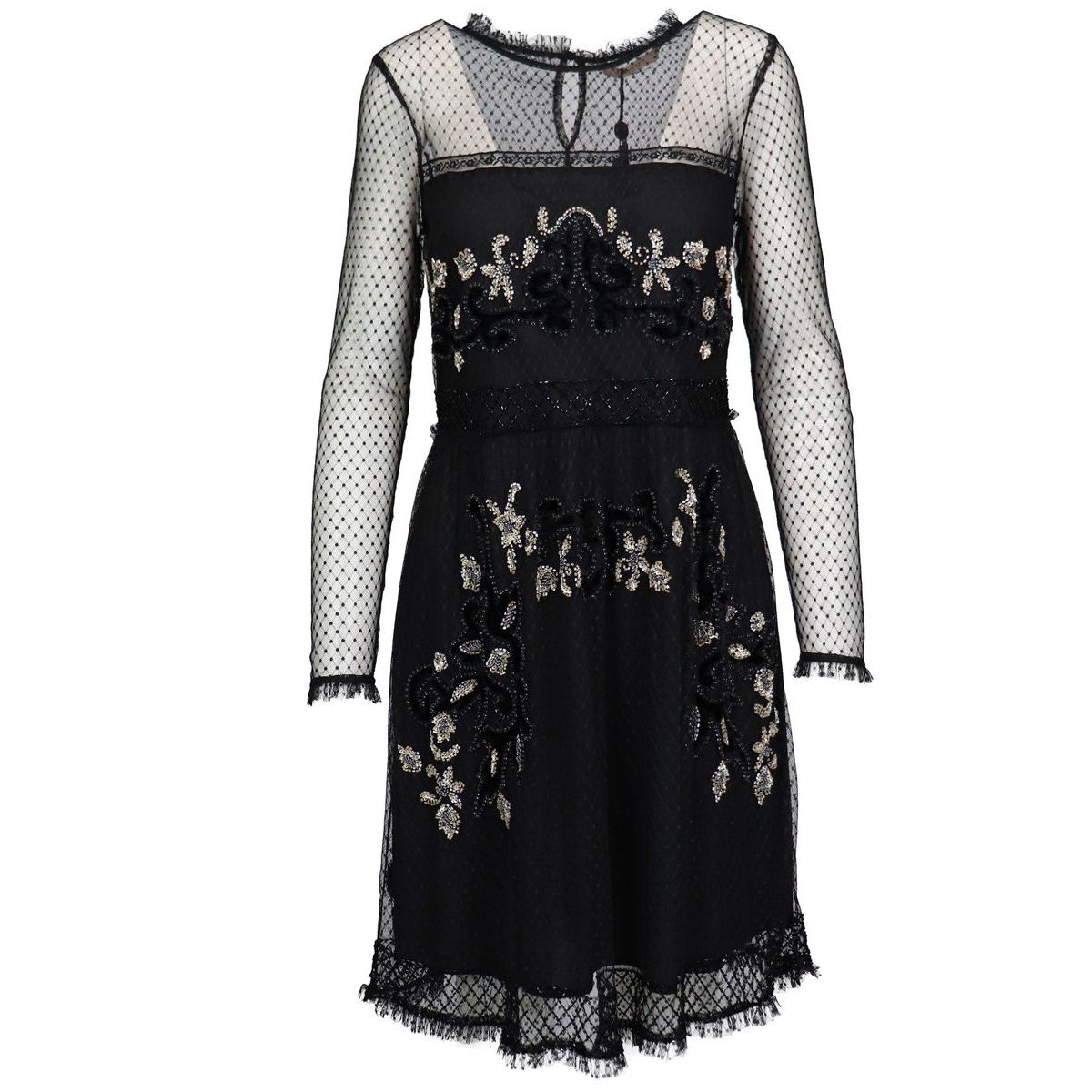 Plumetis tulle dress with velvet floral embroidery Black Twin-Set