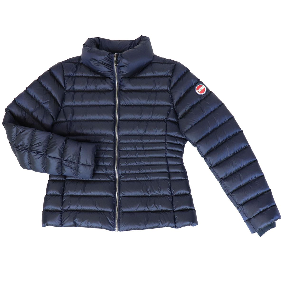 Satin down jacket with stand up collar Blue Colmar