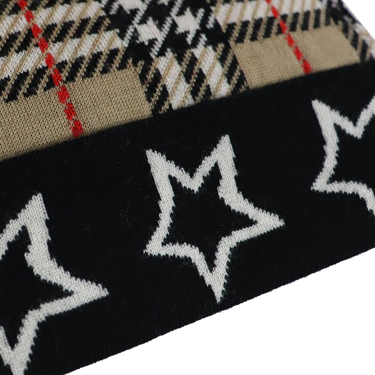 Check patterned hat with pompom and stars on the cuff Beige check Burberry