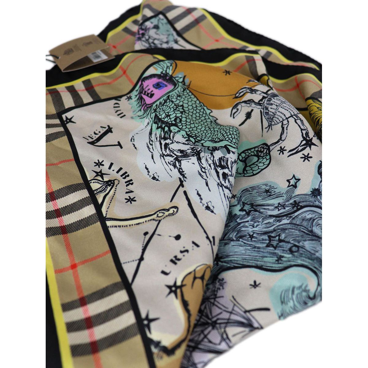 CELESTIAL MAP silk scarf Beige check Burberry