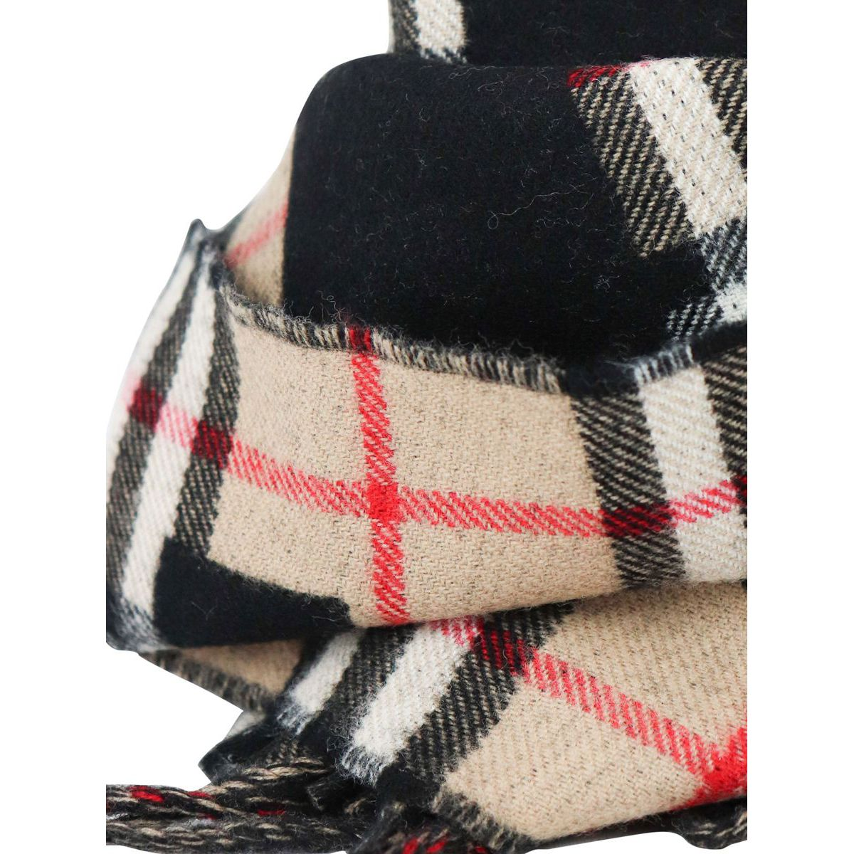 Wool scarf with check and logo motif Camel check Burberry