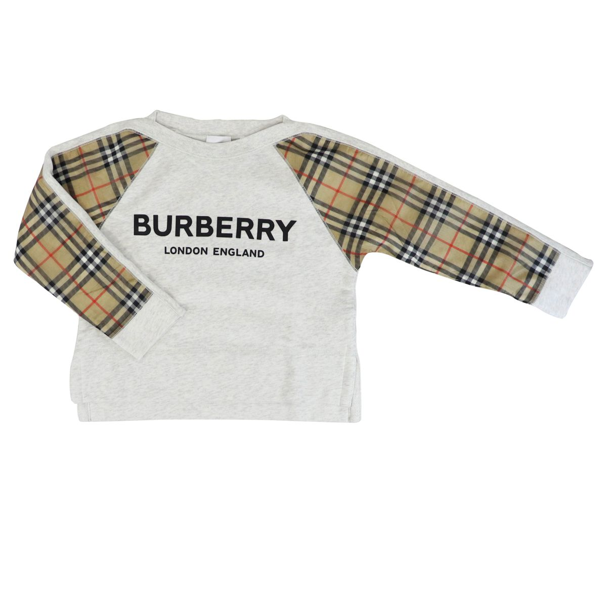 Crew neck sweatshirt with fantasy check on ESTHER sleeves Grey Burberry