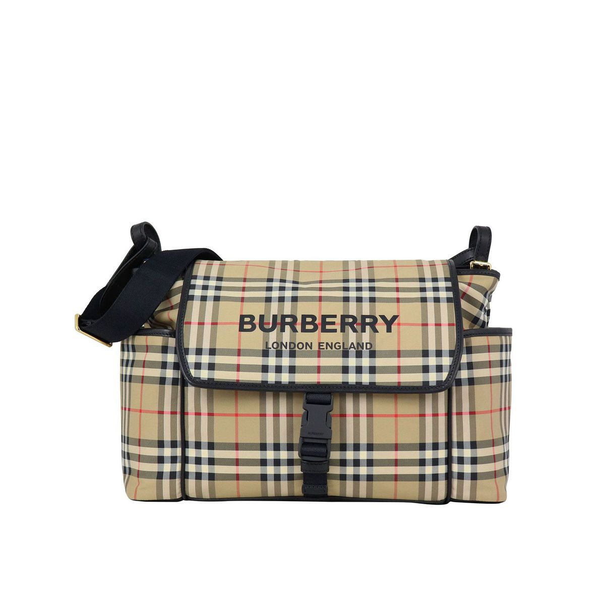 Check patterned mummy bag with logo Beige check Burberry