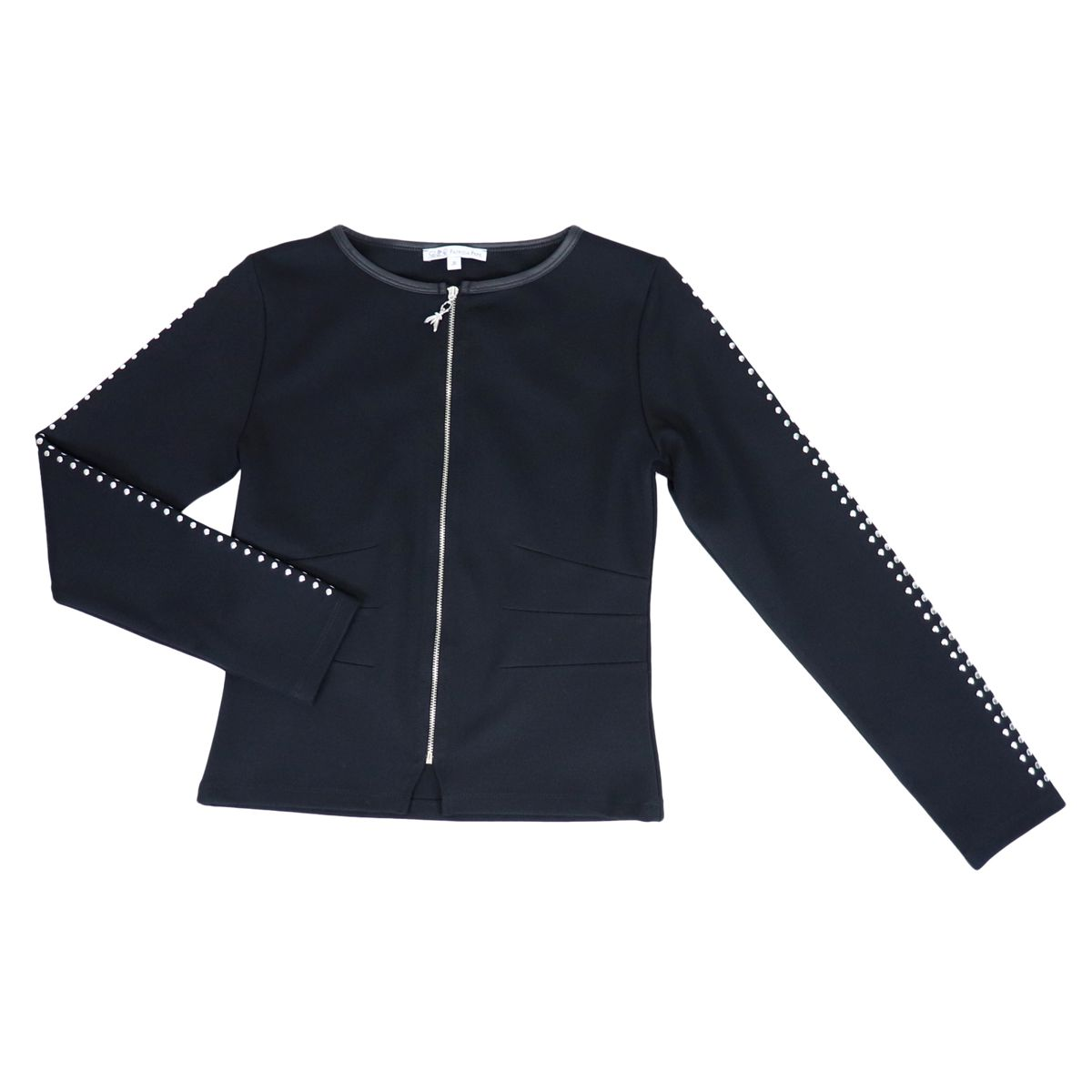 Full zip jacket with studs details on the sleeves Black Patrizia Pepe