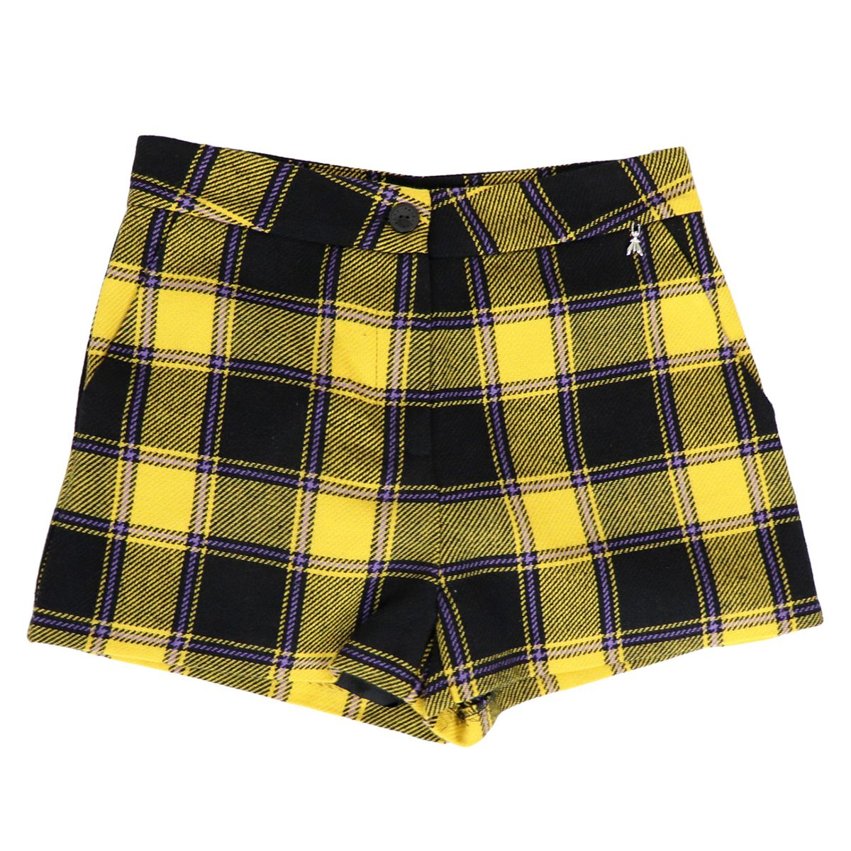 Madras patterned wool blend short Black / yellow Patrizia Pepe