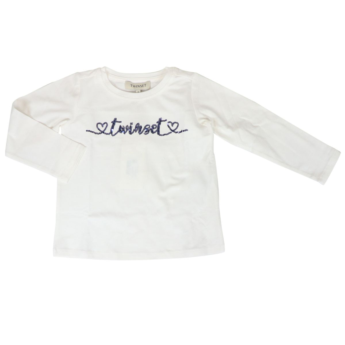 Cotton jersey sweater with contrast sequin logo White Twin-Set
