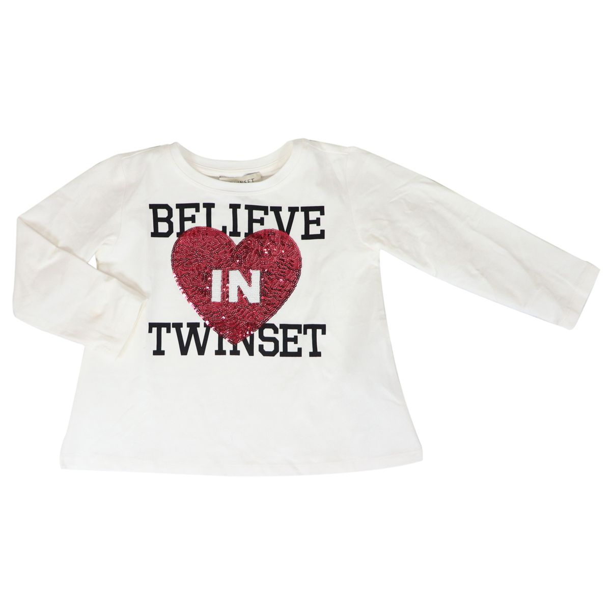 Sweater in cotton with print and heart in sequins Cream Twin-Set