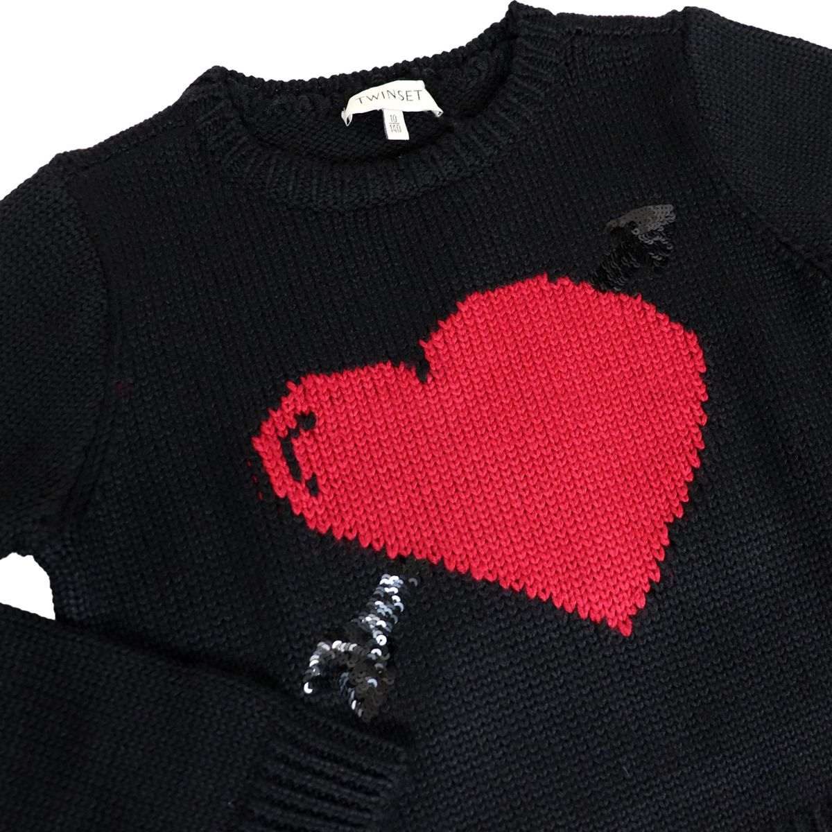 Wool blend sweater with contrasting inlay heart Black Twin-Set
