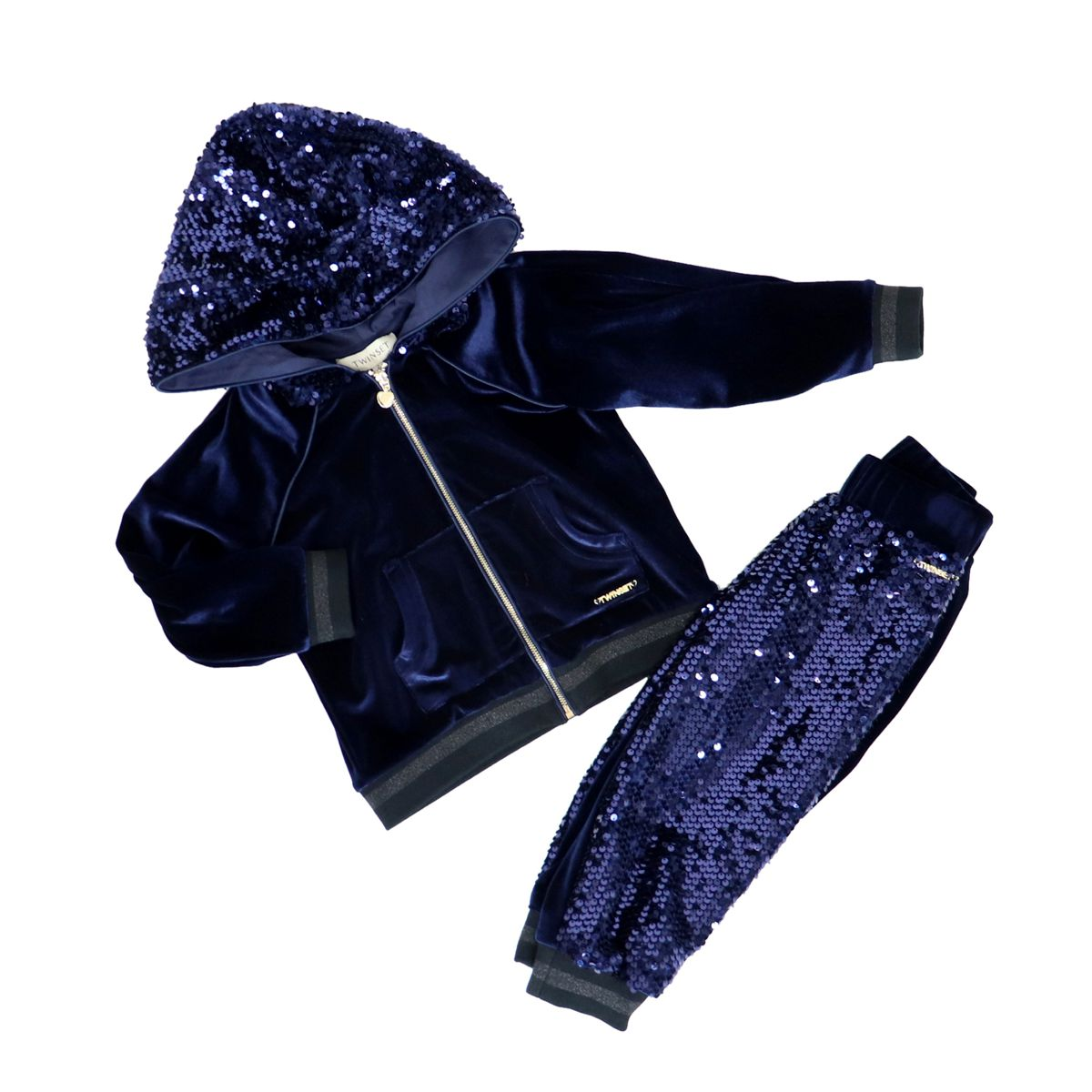 Velvet sweatshirt and trousers with sequins Blue Twin-Set