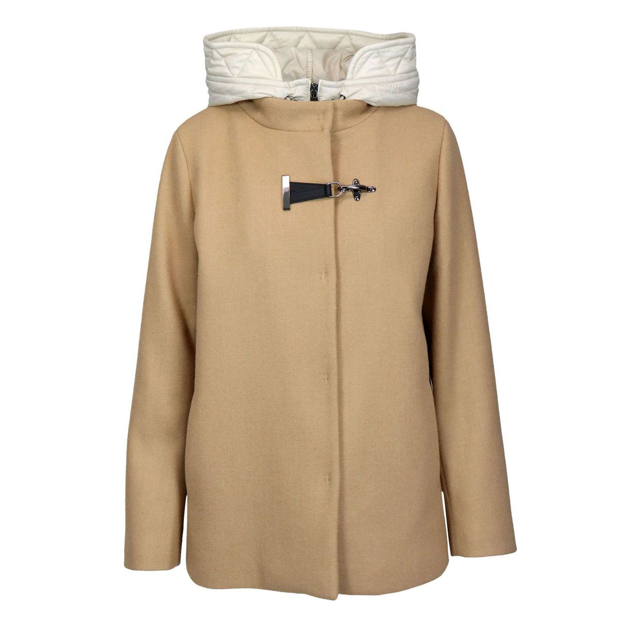 Wool and cashmere coat with interior and nylon hood Camel Fay