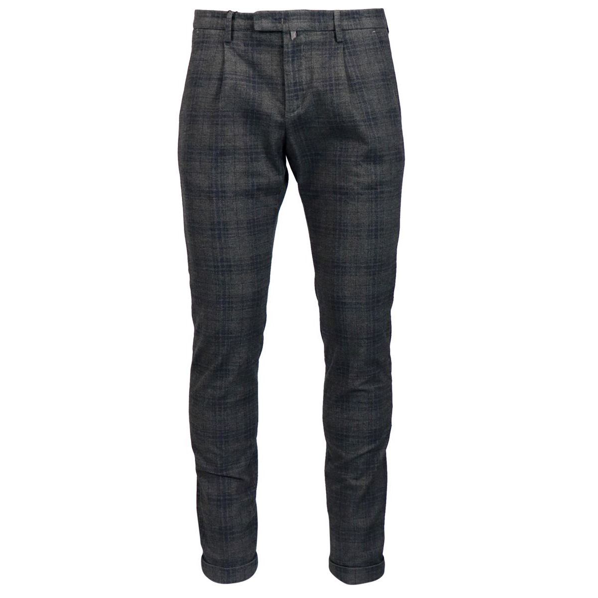 Cotton and viscose madras trousers with pleats Anthracite Briglia
