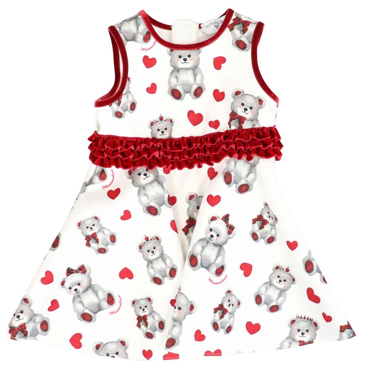 Sleeveless neoprene dress with teddy bear print White Monnalisa