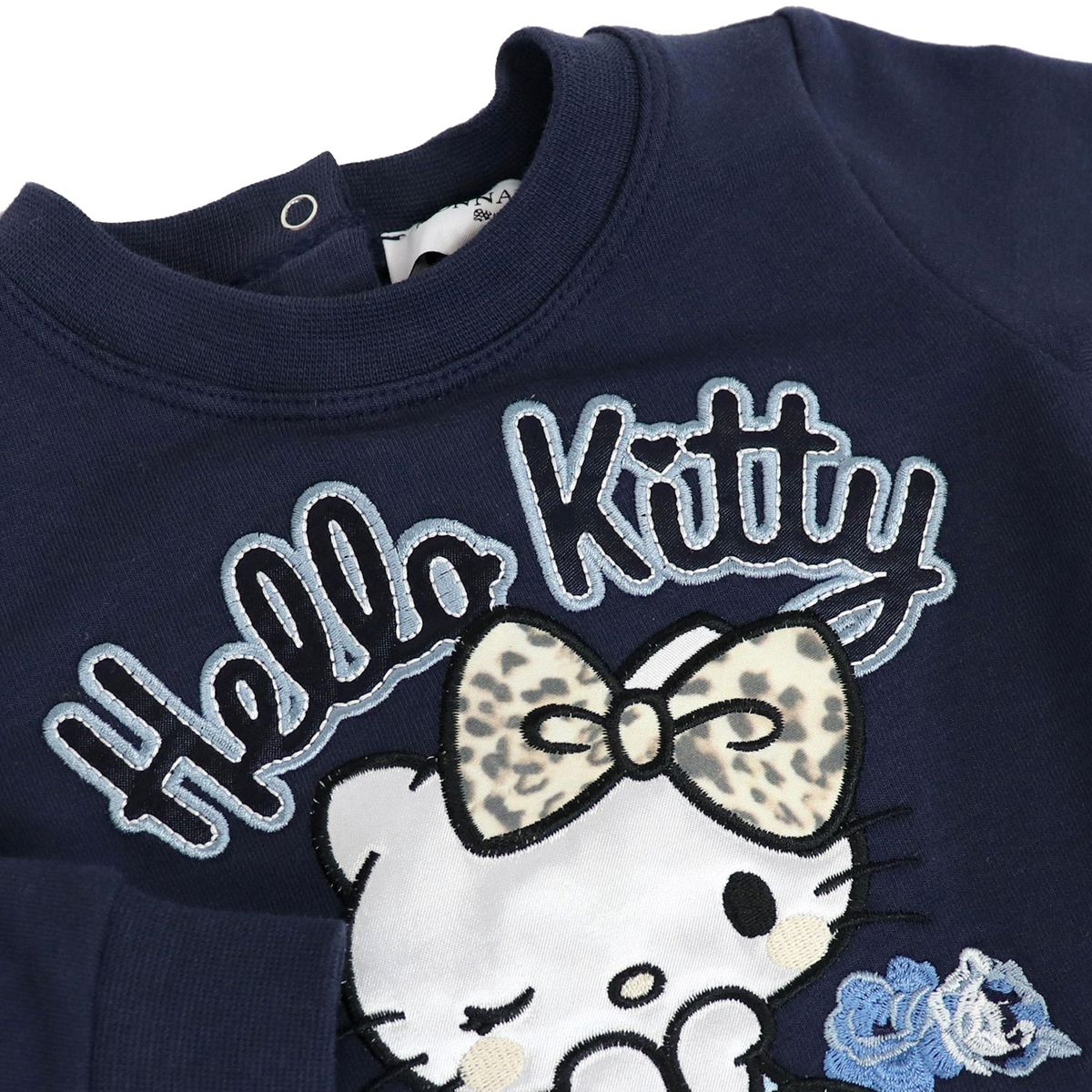 Fleece dress with Hello Kitty embroidery Blue Monnalisa