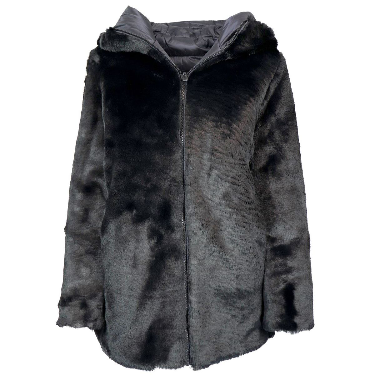 Reversible faux fur and quilted coat Black Save the duck