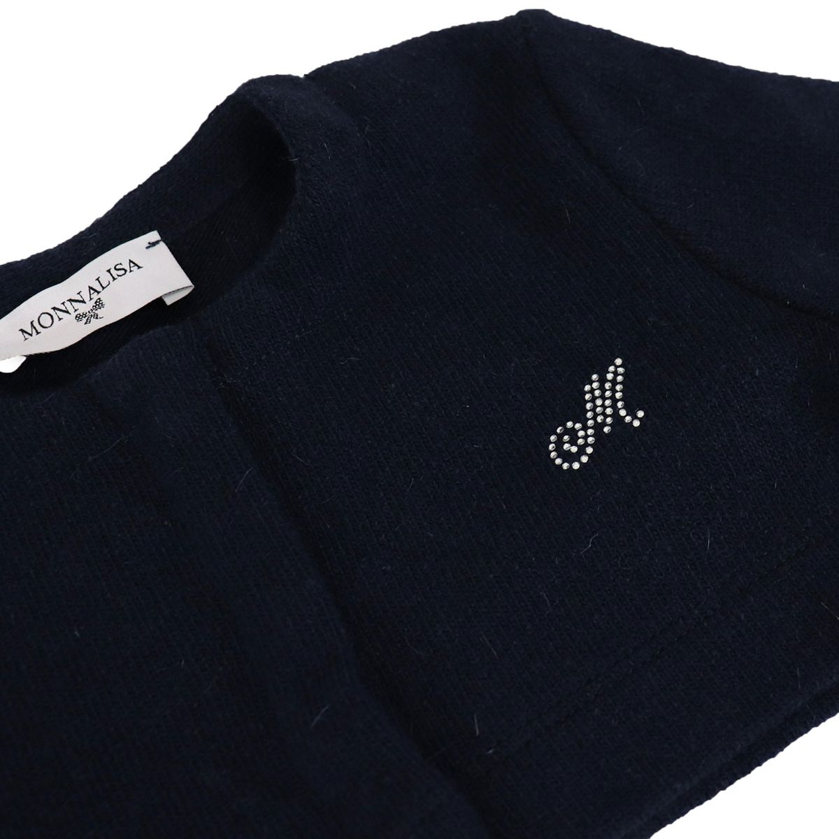 Short concealed button down cardigan with rhinestone logo Blue Monnalisa