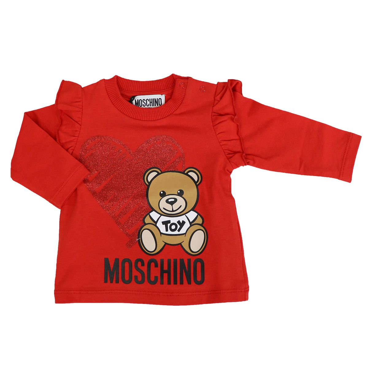 Cotton sweater with Teddy heart and rouches print Red Moschino