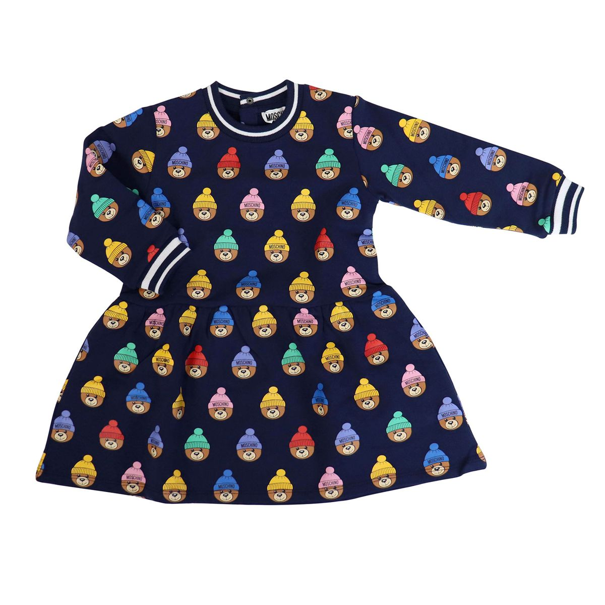 Cotton crew neck dress with Teddy Bear all over print Blue Moschino