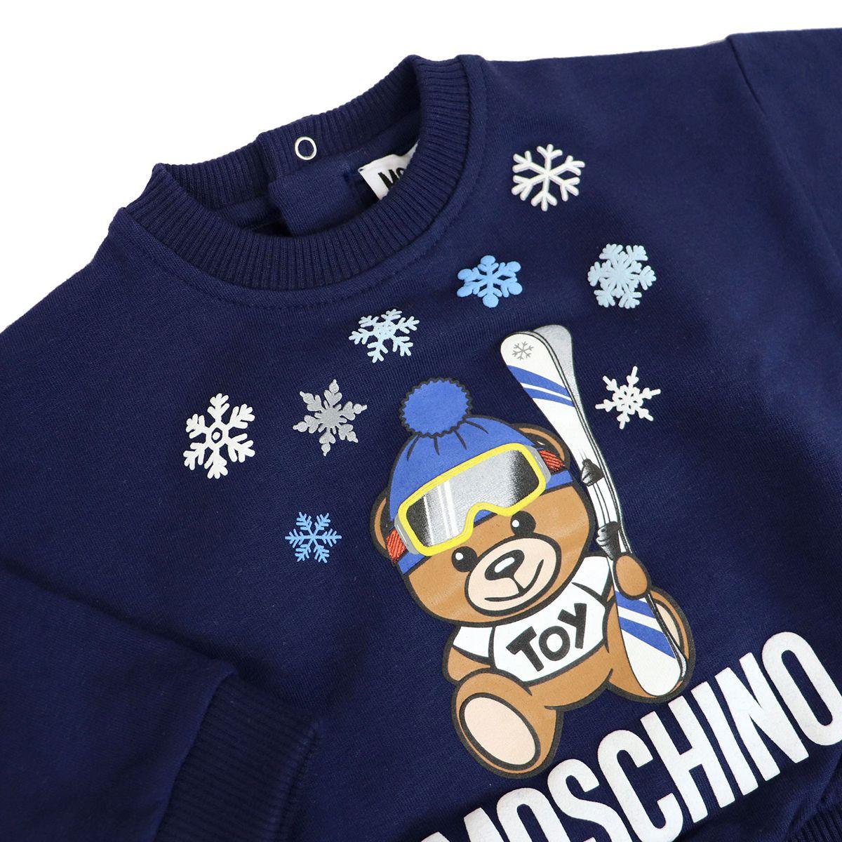 Crew-neck cotton sweatshirt with Teddy ski print Blue Moschino
