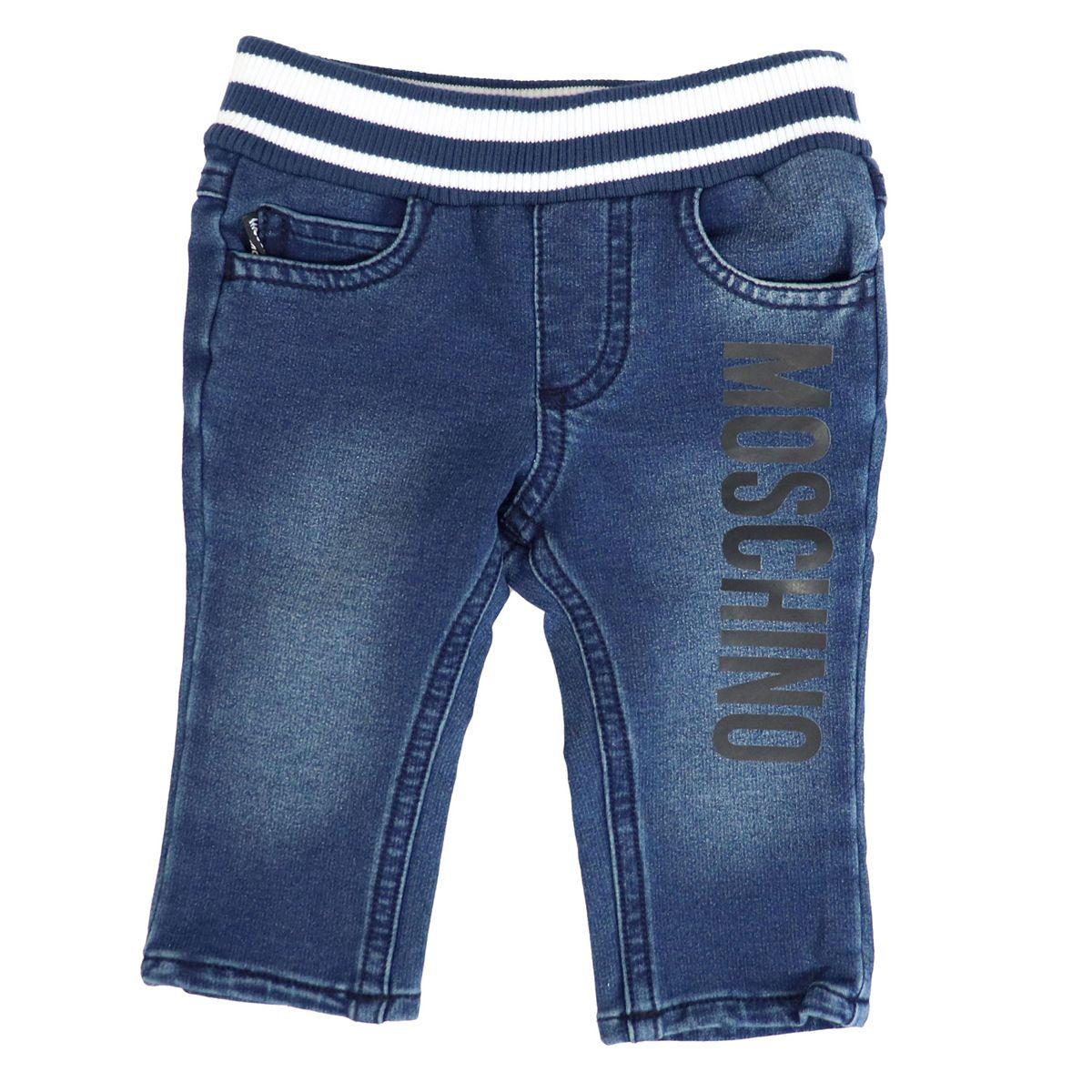 Stretch denim jeans with elastic and logo print Blue denim Moschino