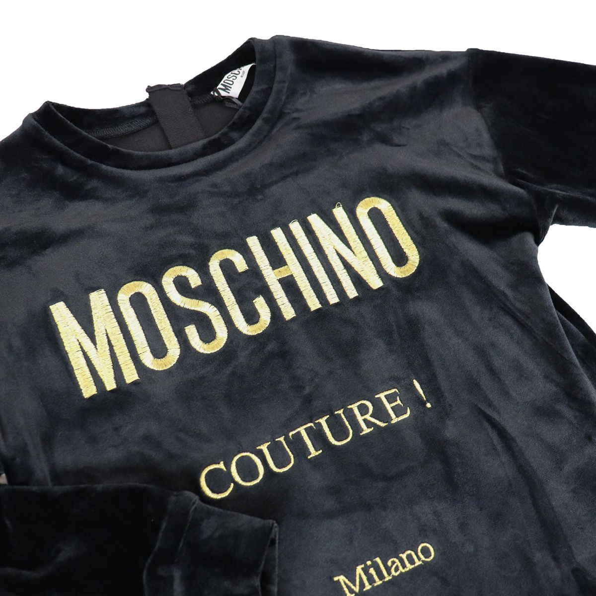 Chenille dress with embroidered gold logo Black Moschino