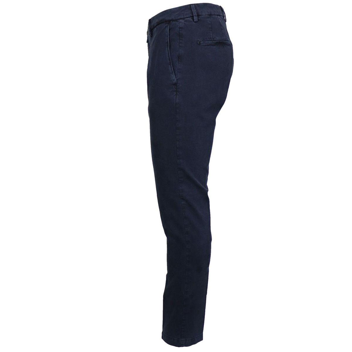 America slim pocket trousers in stretch cotton Navy Briglia