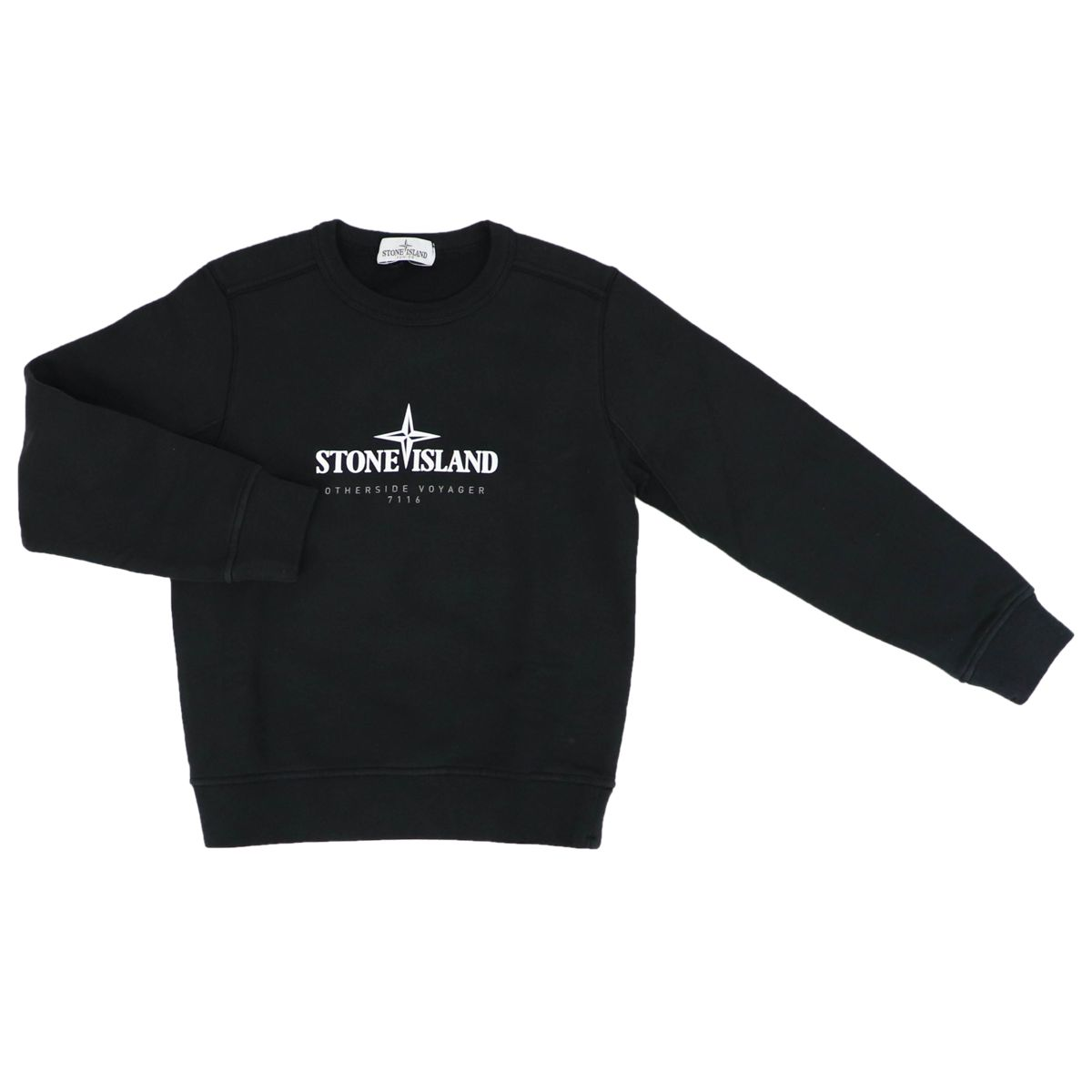 Cotton sweater with front logo Black STONE ISLAND JUNIOR