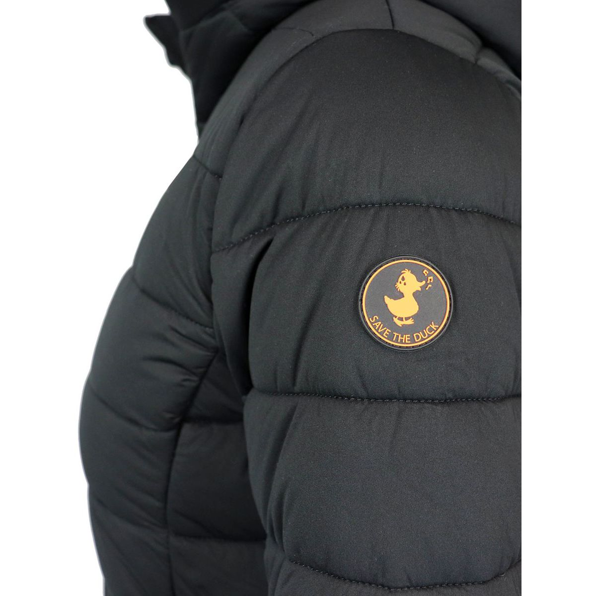 Long down jacket with hood Black Save the duck