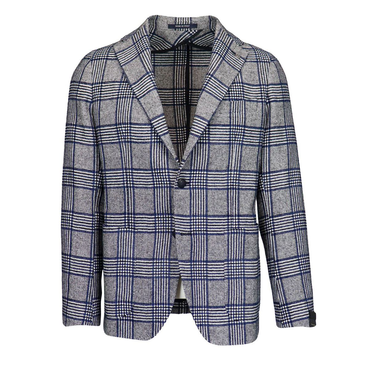 Madras patterned wool blend jacket Light grey Tagliatore
