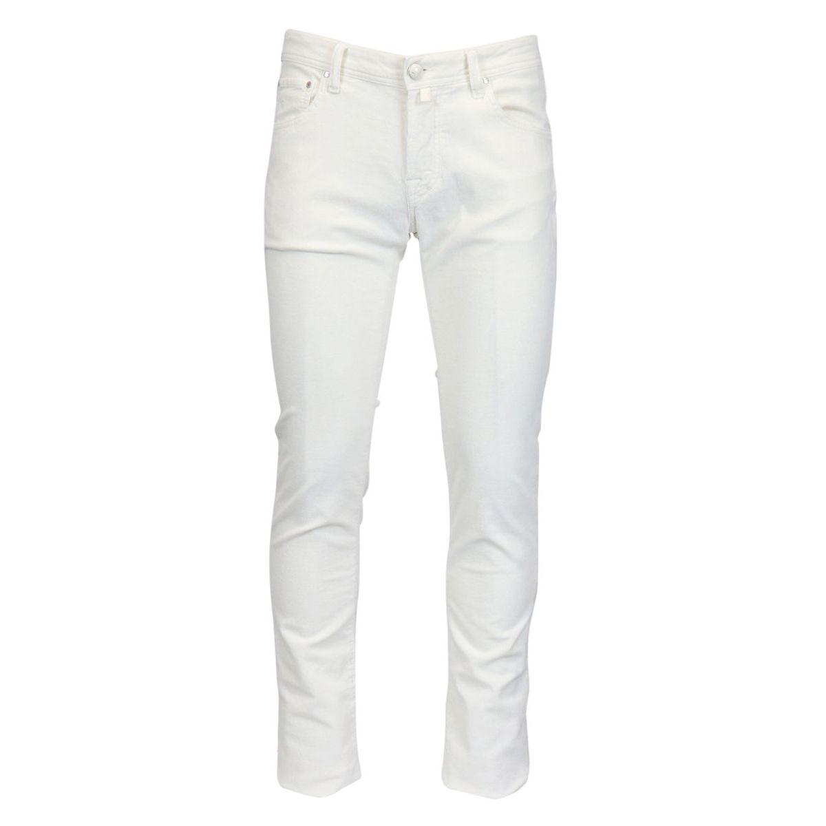 5 pocket trousers in small velvet line White Jacob Cohen