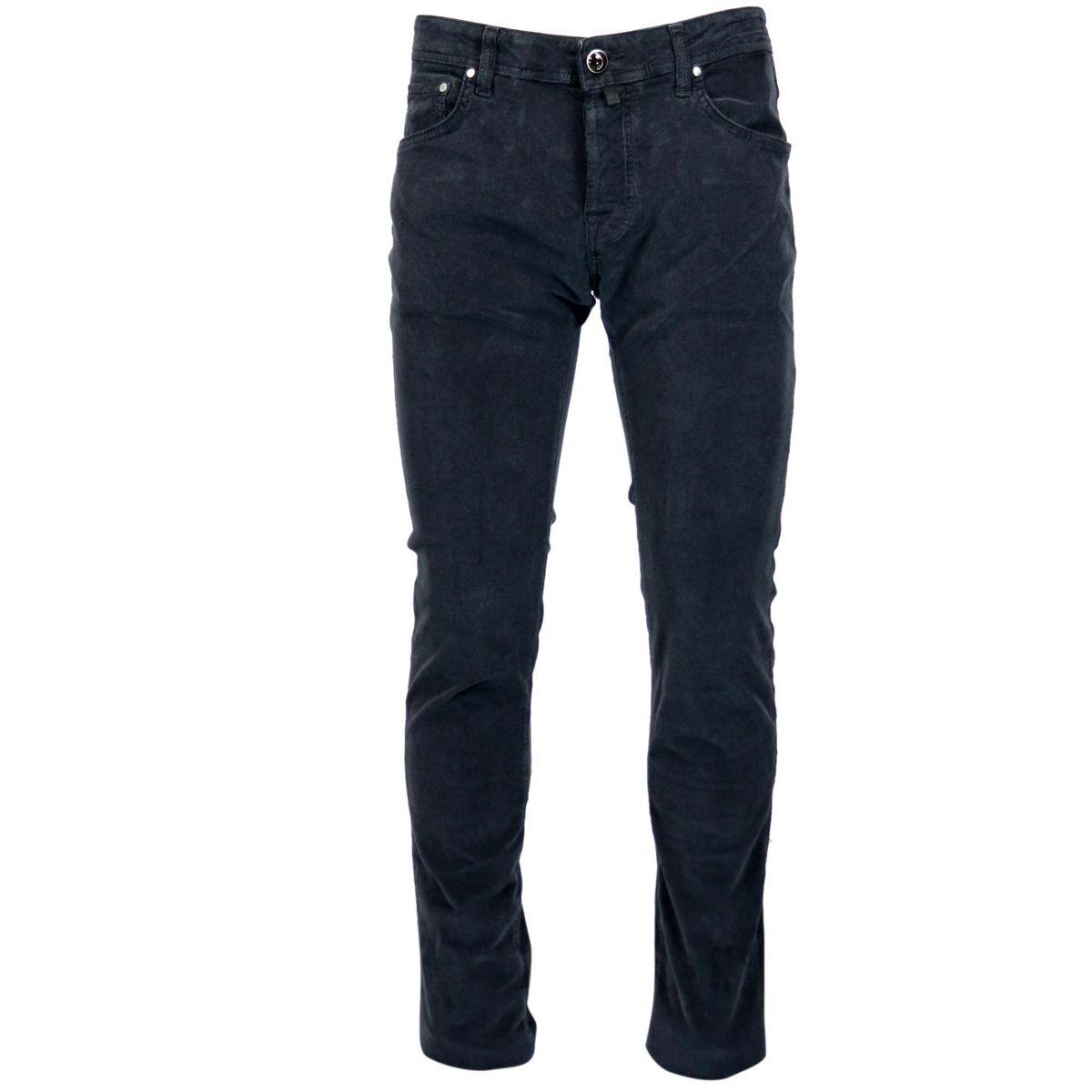 5 pocket trousers in small velvet line Black Jacob Cohen